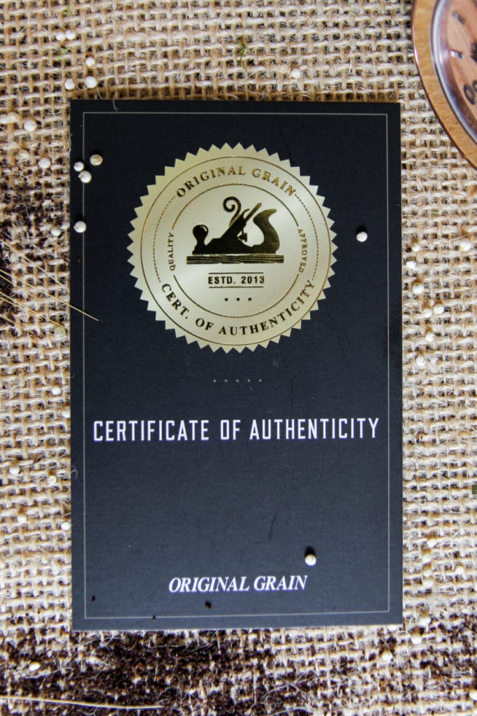 Original Grain Whiskey Barrel Certificate of Authenticity