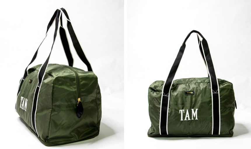 Paravel Fold-Up Bag in Safari Green Grid Angle On and Side On
