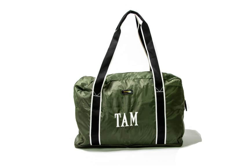 Paravel Fold-Up Bag in Safari Green On White Background Clear