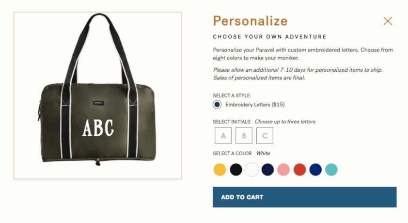 Screenshot of Personalizing the Paravel Fold-Up Bag on the online store