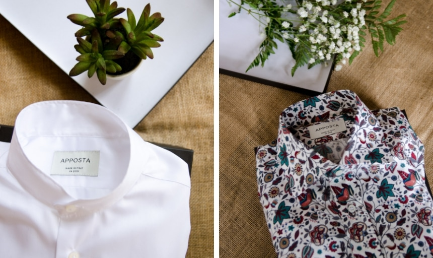 Two Folded Apposta Shirts Side by Side Grid With Flowers