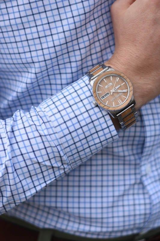 original grain watch on model wearing blue checked dress shirt