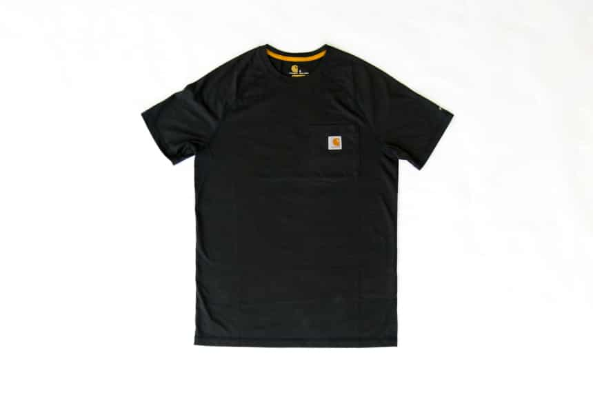 Carhartt Force Delmont Tee in navy front facing against white background