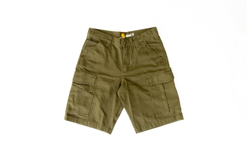 Carhartt Rugged Flex Rigby Cargo Short in tarmac front facing on white background