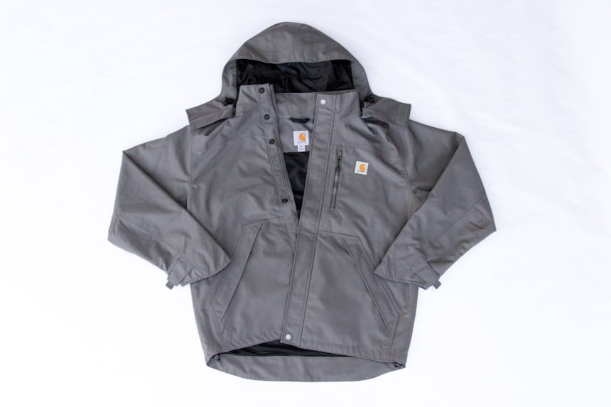 Carhartt Shoreline Jacket in gray front facing on white background