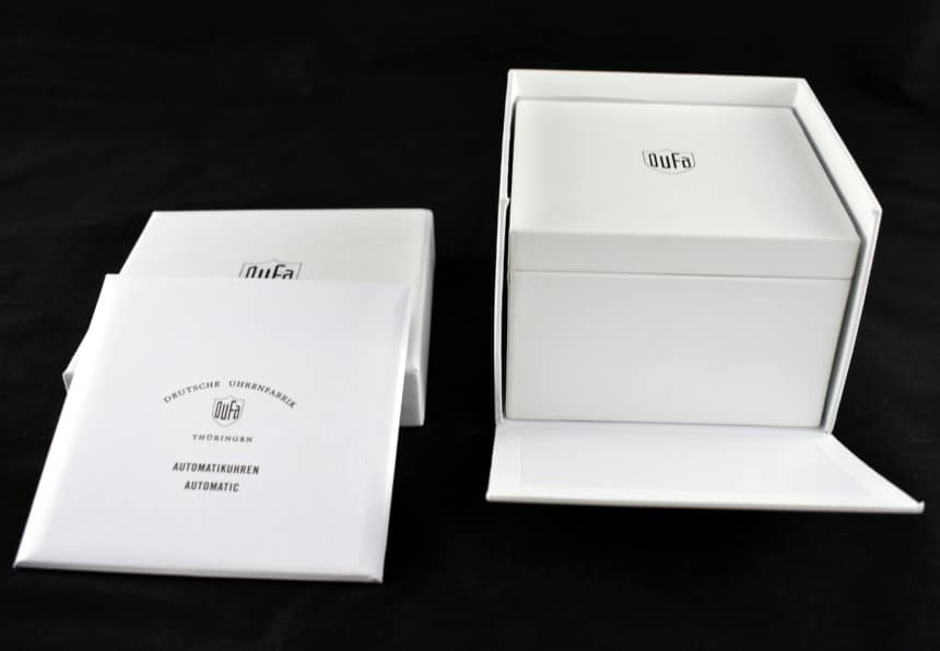 Dufa Bayer Watch Box Open Outside and Booklet Envelope