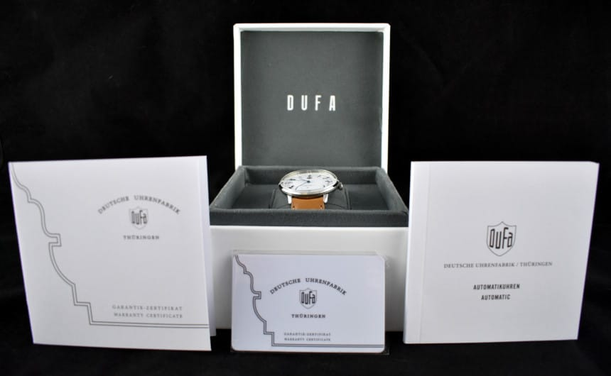 Dufa Bayer Watch Box Open Outside with Instructions and Warranty on Display