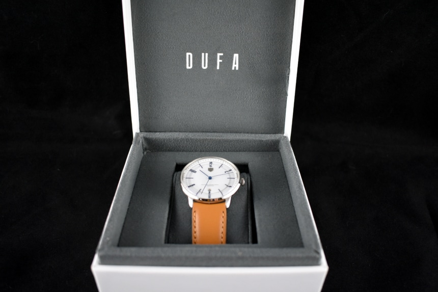Dufa Bayer Watch Box Open Showing Watch On Cushion