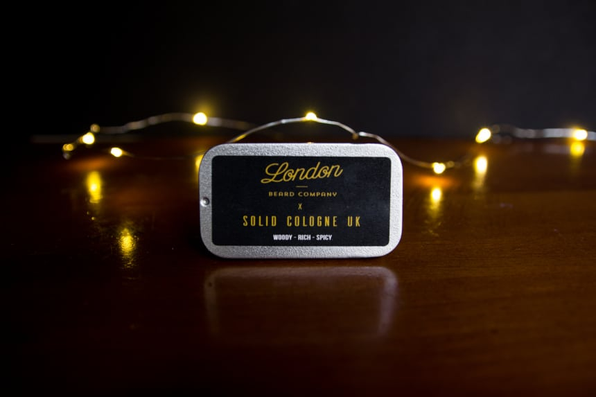 London Beard Company Solid Cologne from The Personal Barber Subscription Box On Its Side