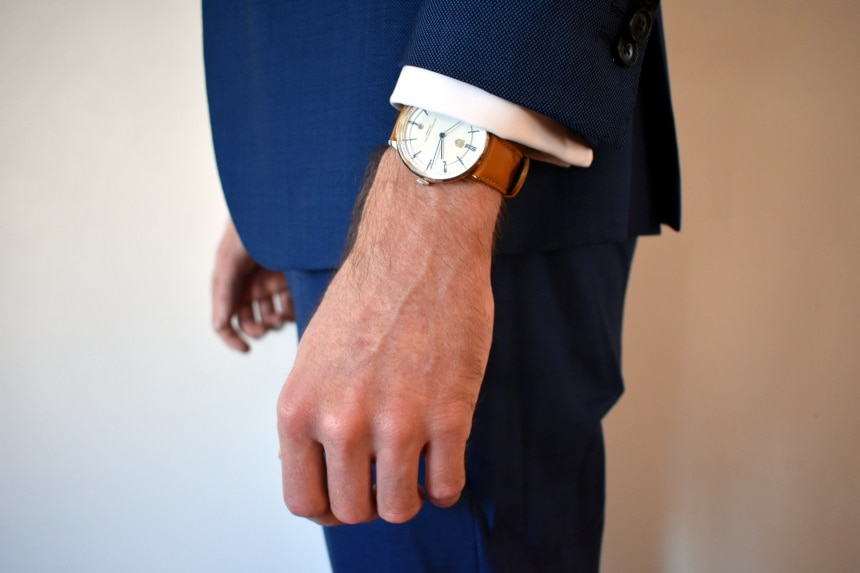 Model Wearing Dufa Bayer In Suit Side On Showing Cuff