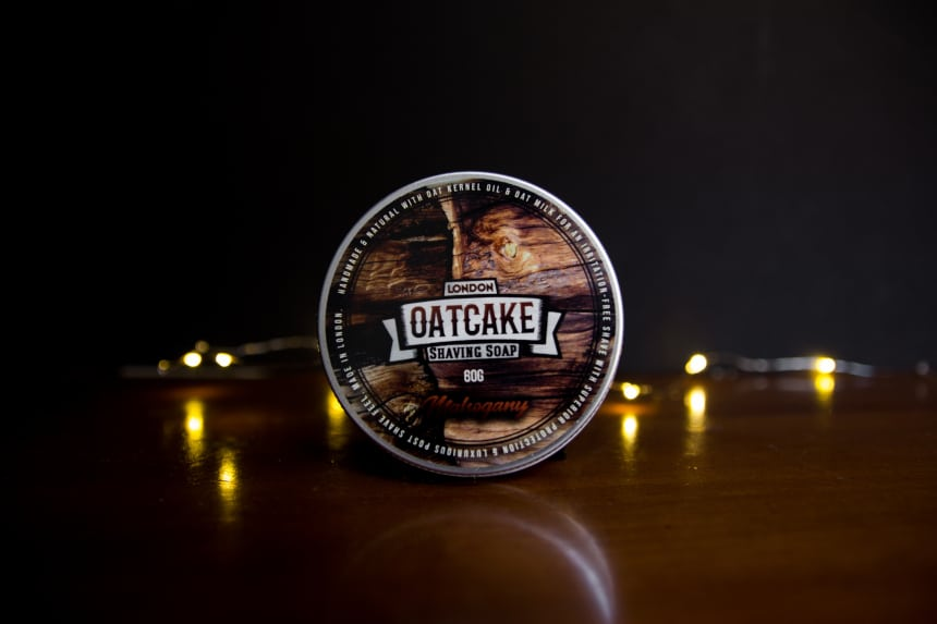 Oatcake Shaving Soap from The Personal Barber Subscription Box Standing Up