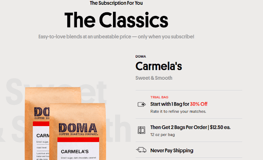 Screenshot of The Classics On Trade Coffee Website.png
