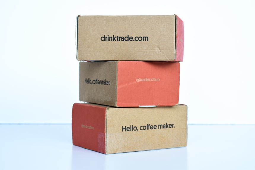 Side on Of Trade Coffee Boxes Stacked