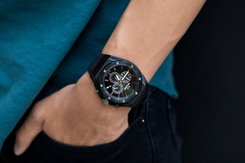 TW Steel CEO Tech watch worn by male model with blue shirt b