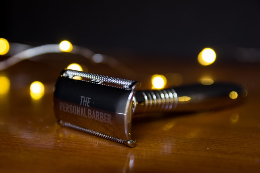 The Personal Barber Premium Double Edged Safety Razor On Angle Side On