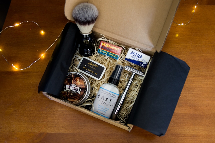 Top Down View on angle of Open The Personal Barber Subscription Box