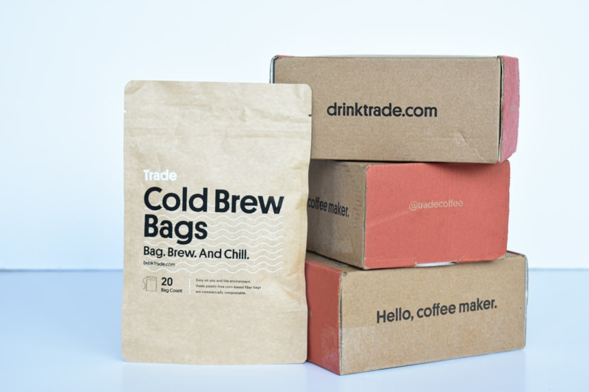 Trade Coffee Side On of Box Packaging and Cold Brew Bags Bag