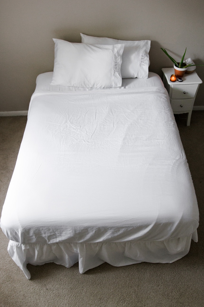 Vertical Shot of bed with Valentino 1200 Thread Count Cotton Sheet Set from Luxor Linens
