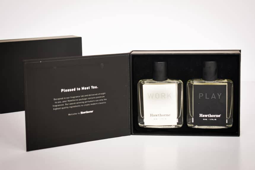 Hawthorne Fragrance Box Packaging Open Showing Work and Play Side by Side