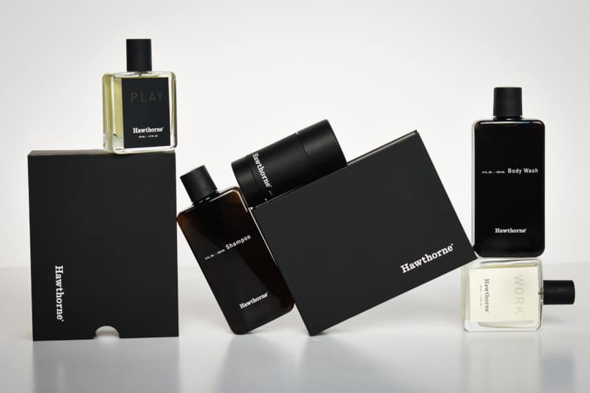 Hawthorne Fragrance Review: Entire Set of Fragrance, Body Wash, Shampoo, And Deodorant, And Packaging Stacked in Jigsaw on White Background Straight On