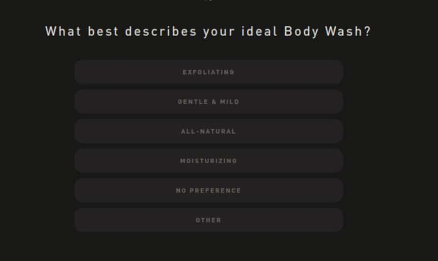 Hawthorne Quiz Screenshot Body Wash Ideal Type Question