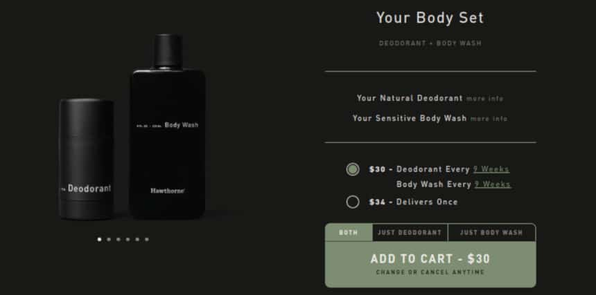 Hawthorne Quiz Screenshot Deodorant and Body Wash