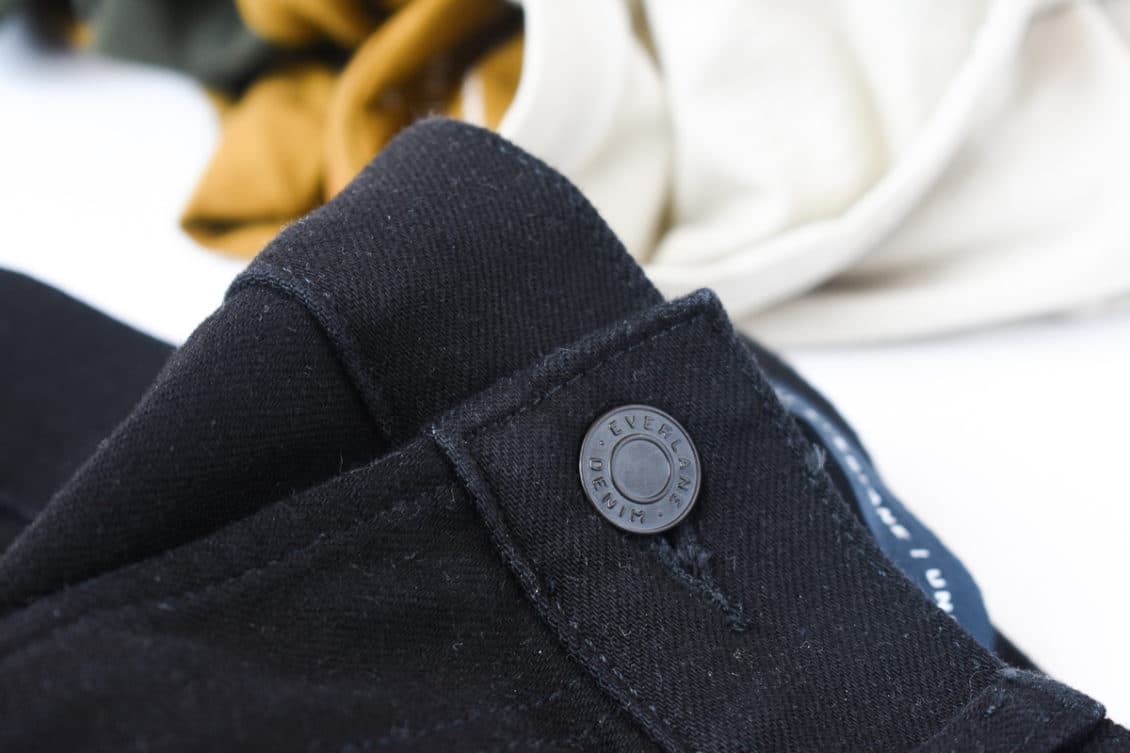 performance jean button closeup