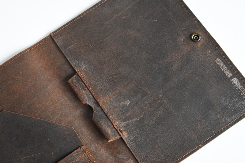 Armoir Leather Porfolio top down closeup
