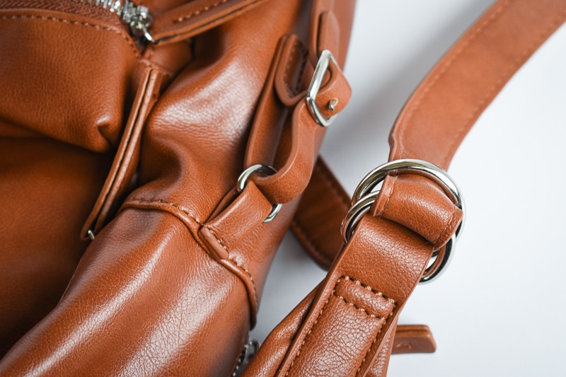 Modern Made Man Leather Backpack scrunch ring detail