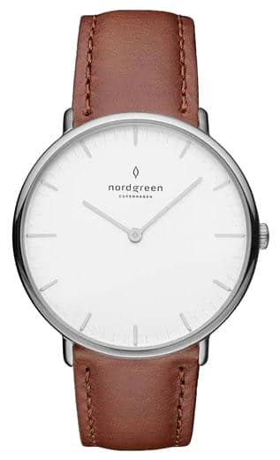 Nordgreen Native White Dial Brown Leather Product Shot