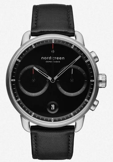 Nordgreen Pioneer Black Dial Black Leather Product Shot
