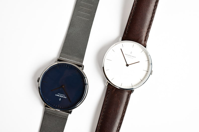 Nordgreen native white dial and blue dial opposed