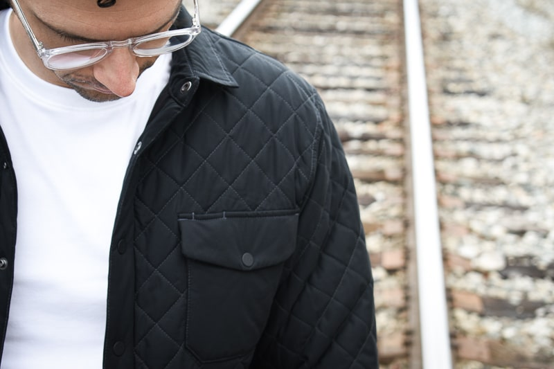 Quilted jacket on model