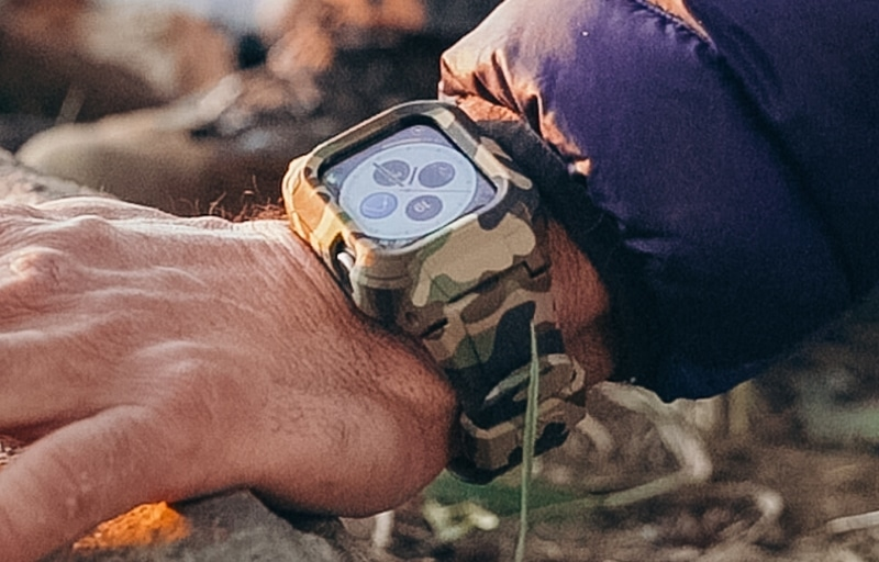 Rhino Band Stealth 44M Review Close Up Shot of Wrist With Camo Color While Camping