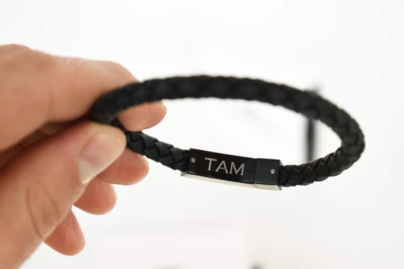 The Steel Shop 6mm leather bracelet with engraving closeup