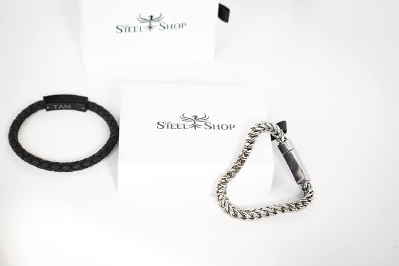 TheSteelShop franco link bracelet hanging off box