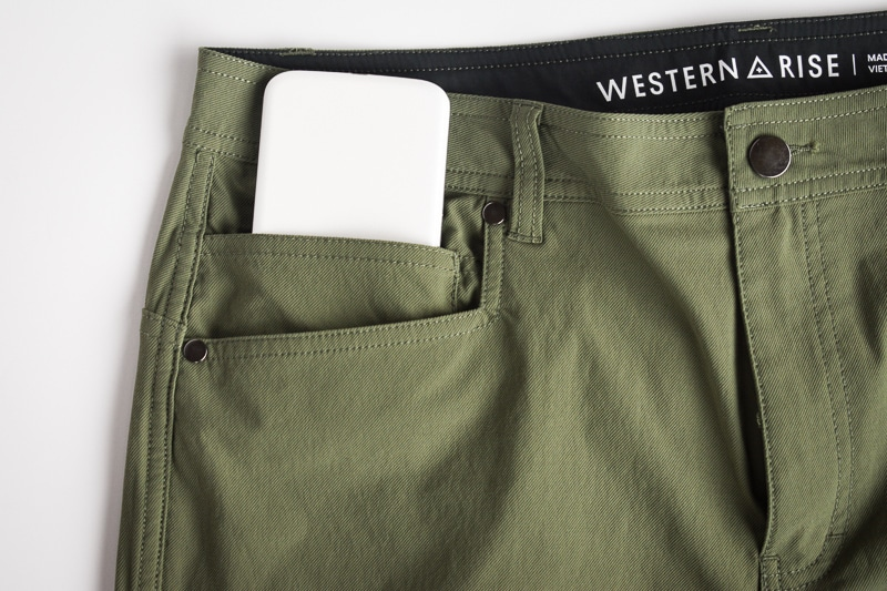 Western Rise evolution pant with phone in pocket
