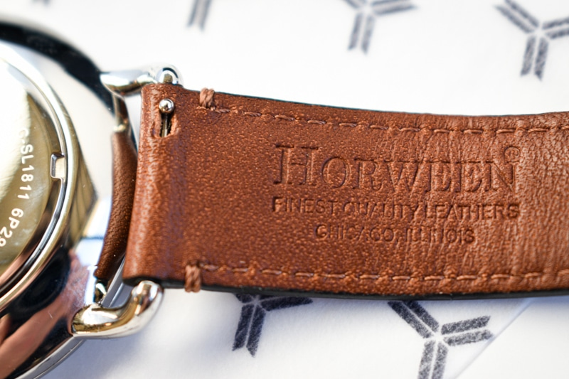 Wolfpoint fort dearborn horween tannery logo in detail grain