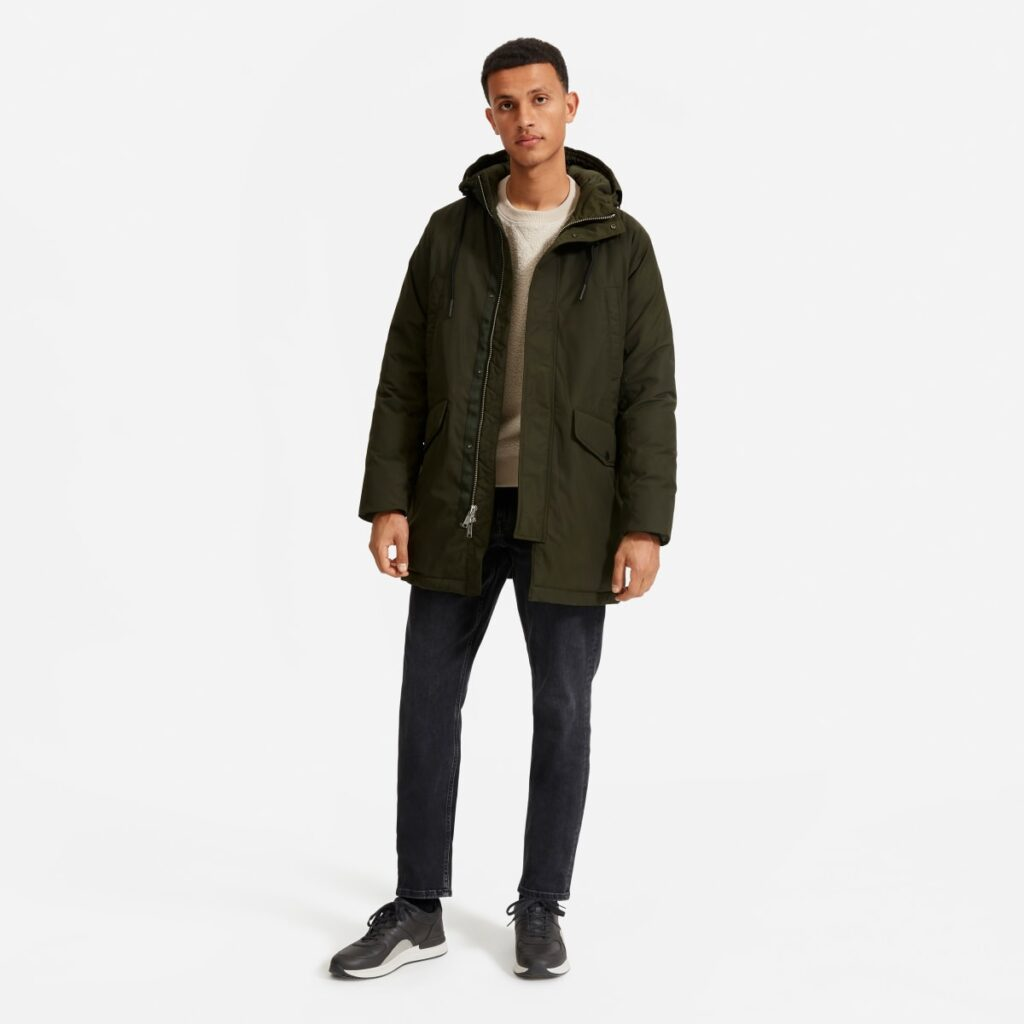 everlane renew parka men olive