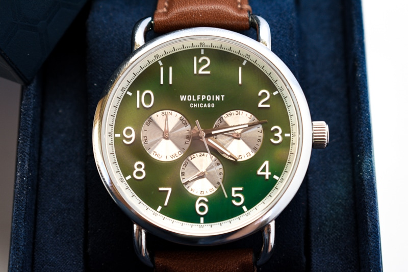 fort dearborn forest green logo dial topdown