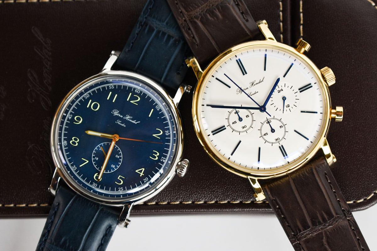 white dial varberg chronograph over blue flytande bjorn hendal