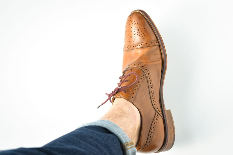 no show strideline sock in brogue shoe look at the ankles