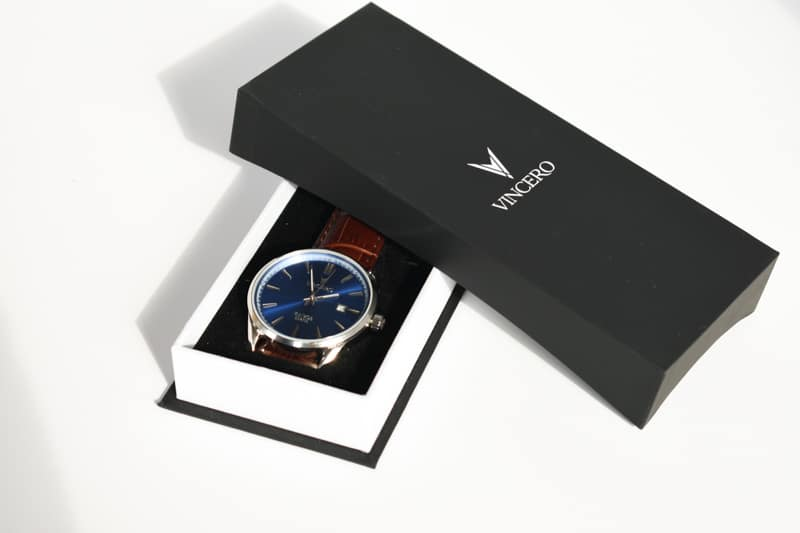 Vincero Kairos brown with blue dial in box
