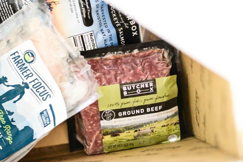ground beef packed into butcherbox package