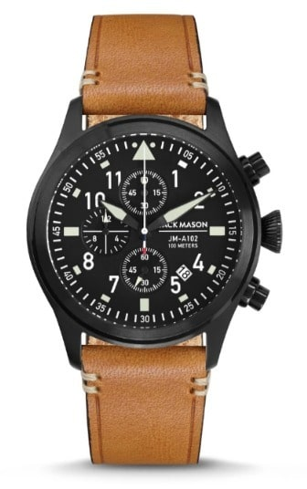 Black 42mm Aviator Chronograph Watch w Tan Leather Strap – Jack Mason Product Shot