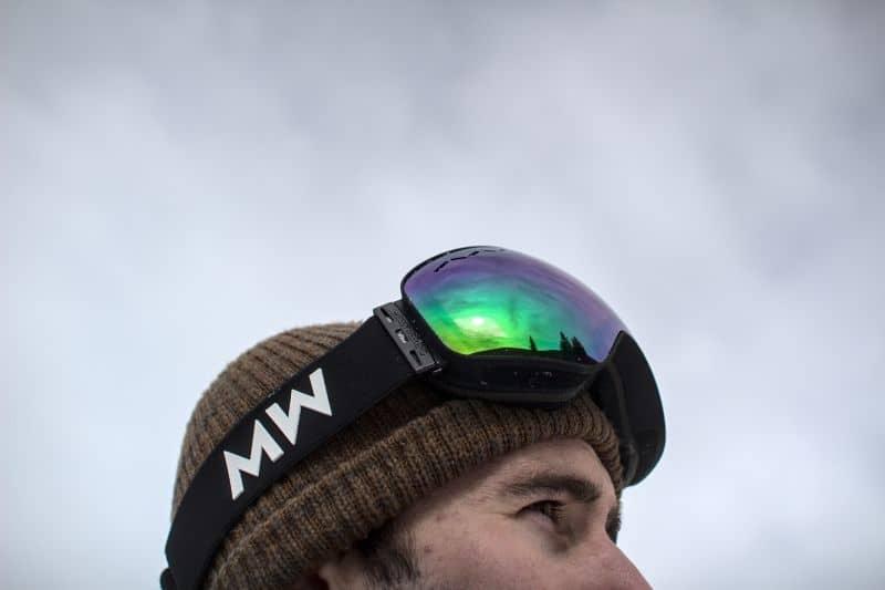 Float goggle rainbow lens on head