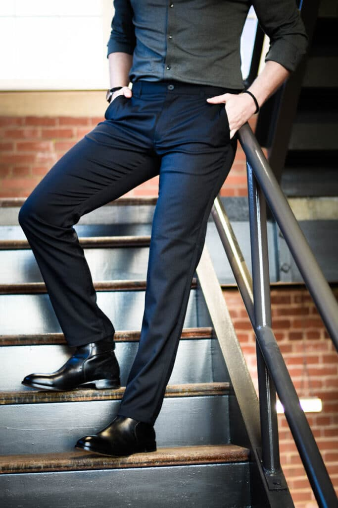 Mizzen Main Performance Chino in Black Model on Staircase Black Polished Shoe