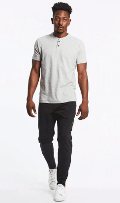 Public Rec tee and all day every day pants on model white background