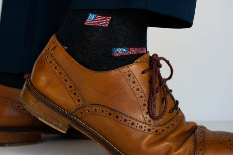 american flag socks in johnston murphy oxford brogue shoes