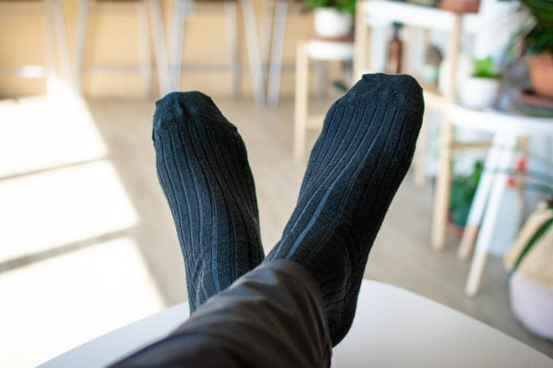 black dress socks for office attire wool over the calf